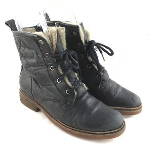 Combat boots ankle shearling black leather Valerie